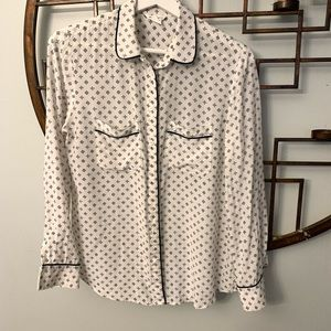 Club Monaco white shirt blue piping silk long S